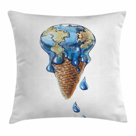 Ice Cream Decor Throw Pillow Cushion Cover, Ice Cream with Globe Planet Earth Flavor Ecological Graphic, Decorative Square Accent Pillow Case, 18 X 18 Inches, Light Caramel Violet Blue, by Ambesonne