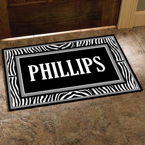 """Personalized Zebra Last Name Doormat, 17"""" x 27"""""""