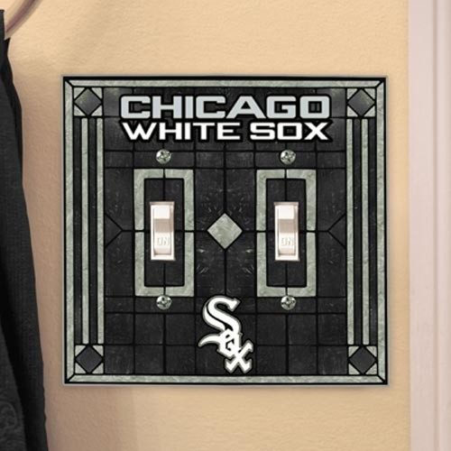 Chicago White Sox Art Glass Double Switch Plate Cover - No Size