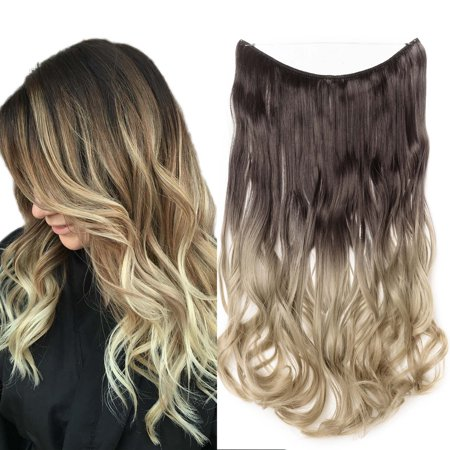 """S-noilite Curly Miracle Secret Invisible Wire Hair Extensions No Clip No Glue Synthetic Hairpieces 1 pcs Dark Brown To Ash Blonde,20""""-90g"""