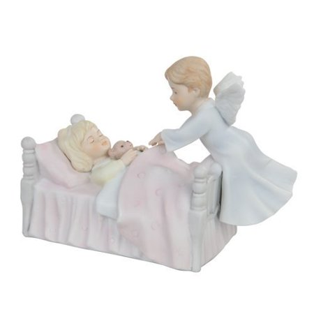Pacific Giftware Angel Watching Over Girl Religious Statue Fine, Porcelain Figurine, 5.5