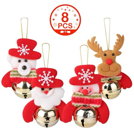 - Christmas Bells Decorations for Home, 8 Pcs set Christmas Tree Ornaments, snowman/old man/bear/elk