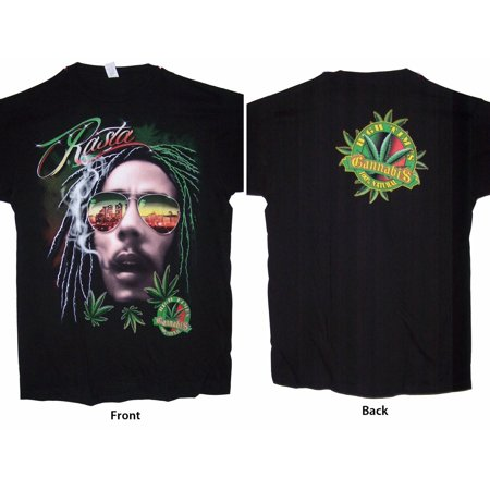 Reggae Rasta Bob Marley High Times Black Cotton T-Shirts (RRTS22-XXL)