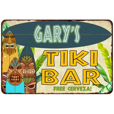 Gary's TIKI BAR Island Personalized Sign Metal Wall Decor 8 x 12 High Gloss Metal 208120058187