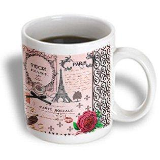 3dRose Stylish Vintage Pink Paris Collage Art - Eiffel Tower - Red Rose - Girly Gothic Black Bow and swirls, Ceramic Mug, 11-ounce