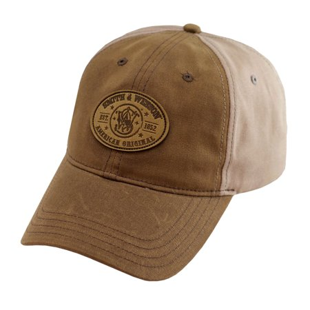 Offically Licensed Smith & Wesson Tan Leather Oval Patch Logo Cap ()