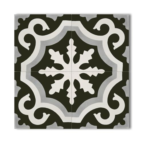 Moroccan Mosaic Tangier Grey and Black Handmade Moroccan 8 x 8 inch Cement and Granite Floor or Wall Tile (Case of 12)