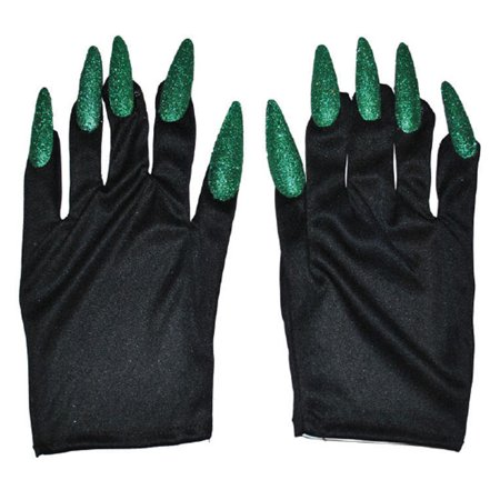Halloween Costume Witch Nail Gloves, Black with Green Nails, One-Size, 1 Pair