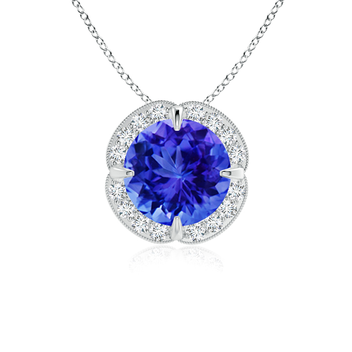 Mother's Day Jewelry Necklace Claw Set Tanzanite Clover Necklace Pendant with Diamond Halo in 950 Platinum (7mm... by Angara.com