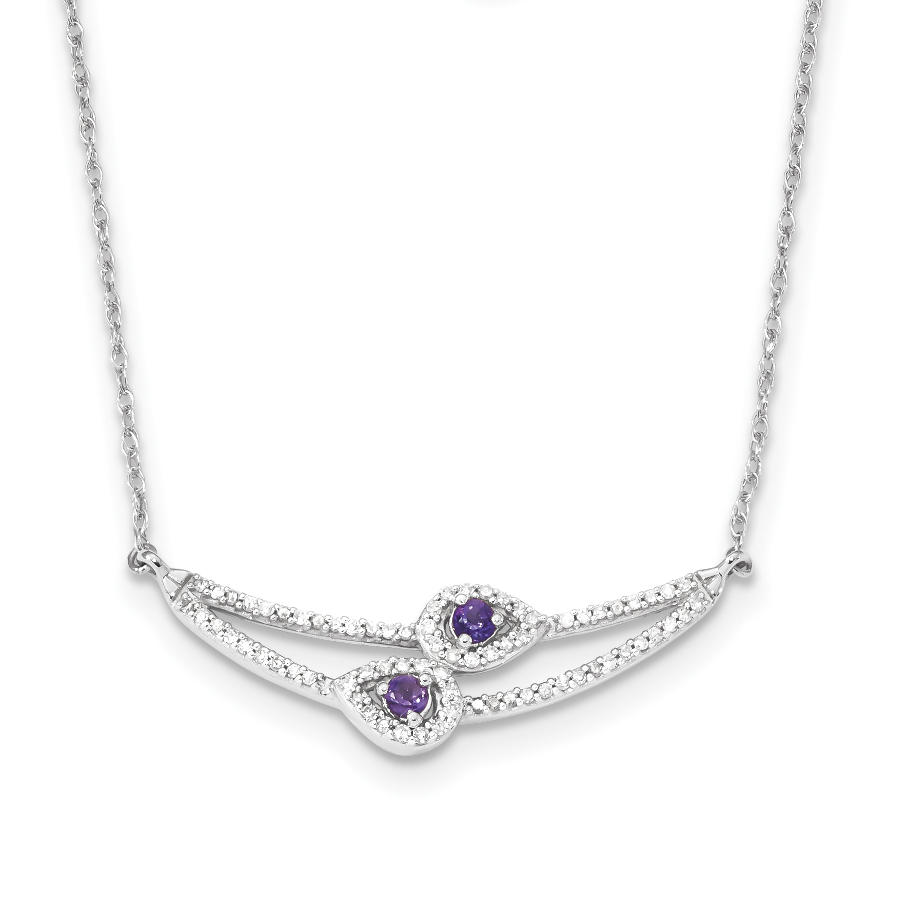 14k White Gold Diamond & Amethyst Necklace by Core Gold