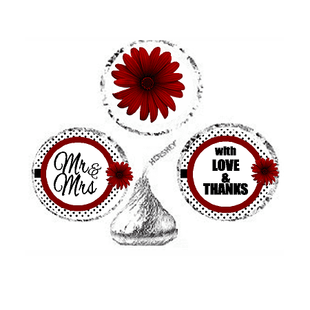 216ct Red Mr & Mrs Party Favor Hersheys Kisses Candy Decoration Stickers / Labels