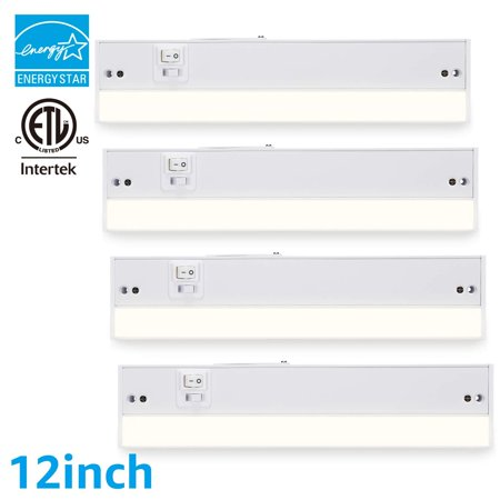 Torchstar 4 Pack 12 Inch Plug In Under Cabinet Light Fixture For