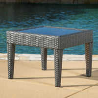 Christopher Knight Home Antibes Square Wicker Patio Accent Table (Gray)
