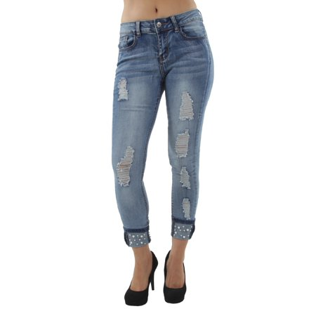 Pearl Designed, Classic, Distressed Rip, Premium Ankle Skinny Jeans