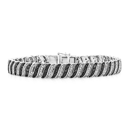 "2.00 Carat Enhanced Black & Natural Diamond Bracelet in Sterling Silver - 7.5"""