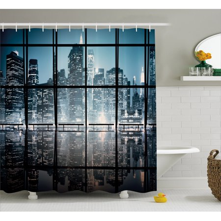 Modern Shower Curtain, Modern New York City Scenery at Night with Skyscrapers Buildings Print, Fabric Bathroom Set with Hooks, 69W X 75L Inches Long, Black and Dark Blue, by Ambesonne