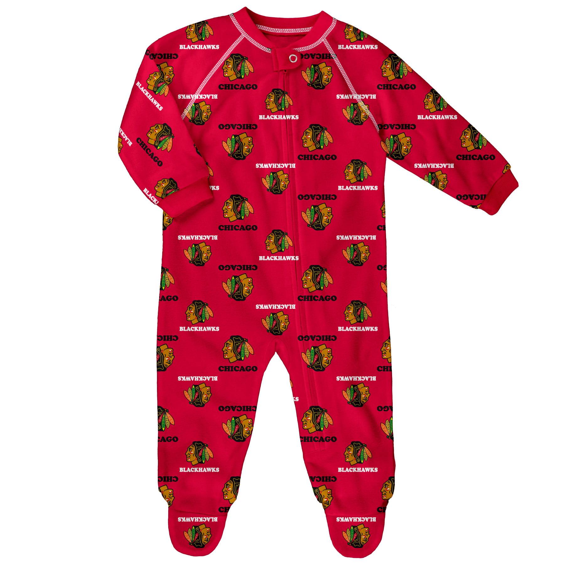Chicago Blackhawks Newborn & Infant Team Print Raglan Sleeve Full-Zip Jumper Pajamas - Red