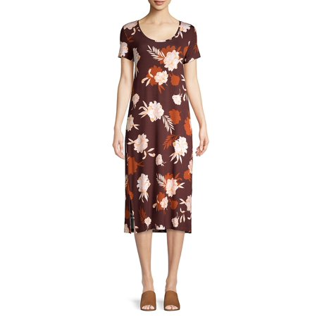 Floral Short-Sleeve Shift Dress Brown Extra Fine Dress Suit
