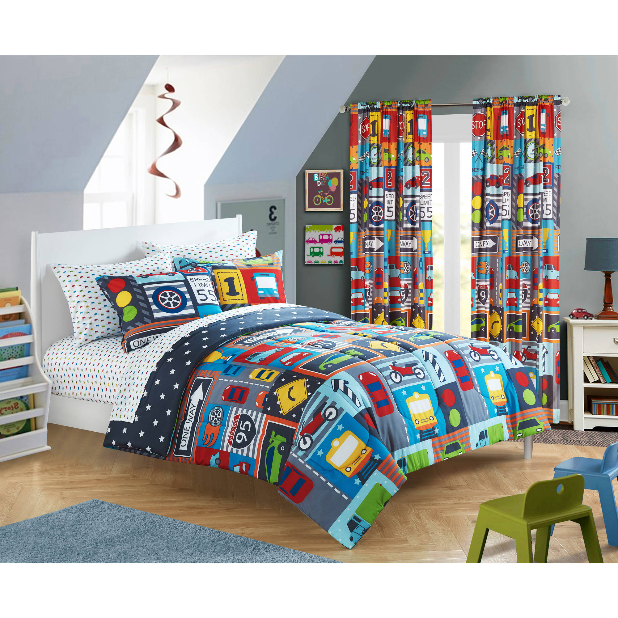 Mainstays Kids Busy Car Transportation Bed in a Bag Bedding Set