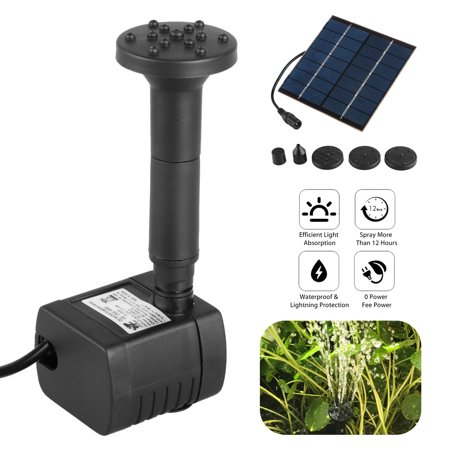 High Flow Submersible Pumps (1.2W Solar Fountain Free Standing Floating, Submersible Solar Water Pump with 4 Sprinkler Heads for Different Water Flows, Perfect for Bird Bath, Small Pond and Water Circulation (9.9FT Cord))