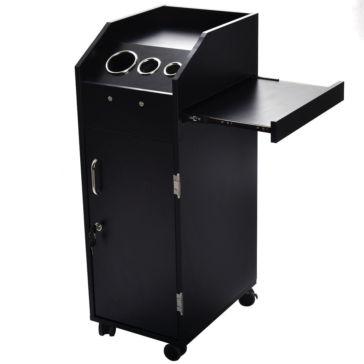 Costway Black Beauty Salon Spa Rolling Trolley 4 Storage ...