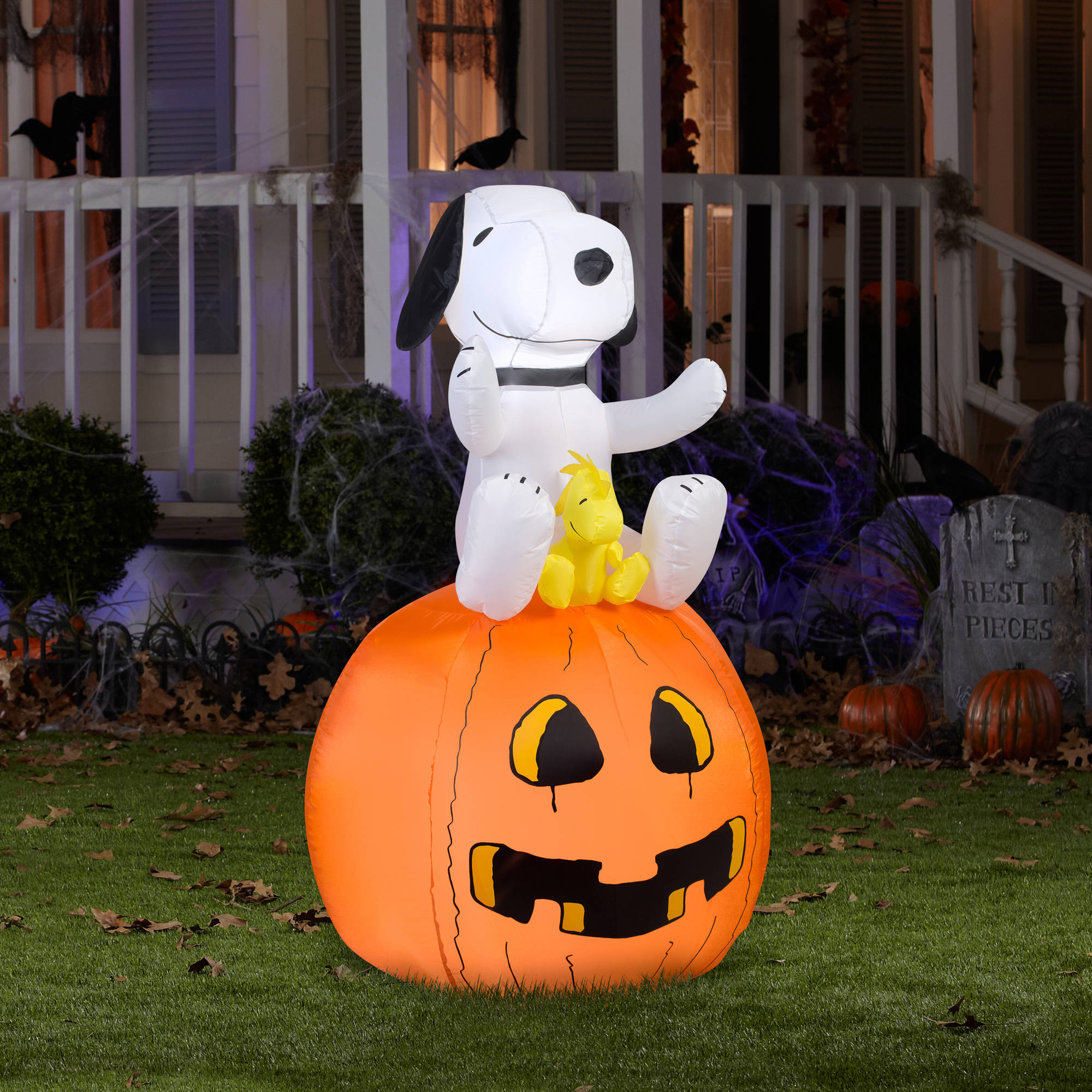 airblown inflatable snoopy on pumpkin by gemmy industries walmartcom - Walmart Halloween Decorations