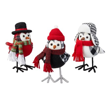 Holiday Time Assorted Plaid Fabric Bird Table Top Christmas Decorations, Multiple Colors, Set of 3 Indoor Christmas Decorations