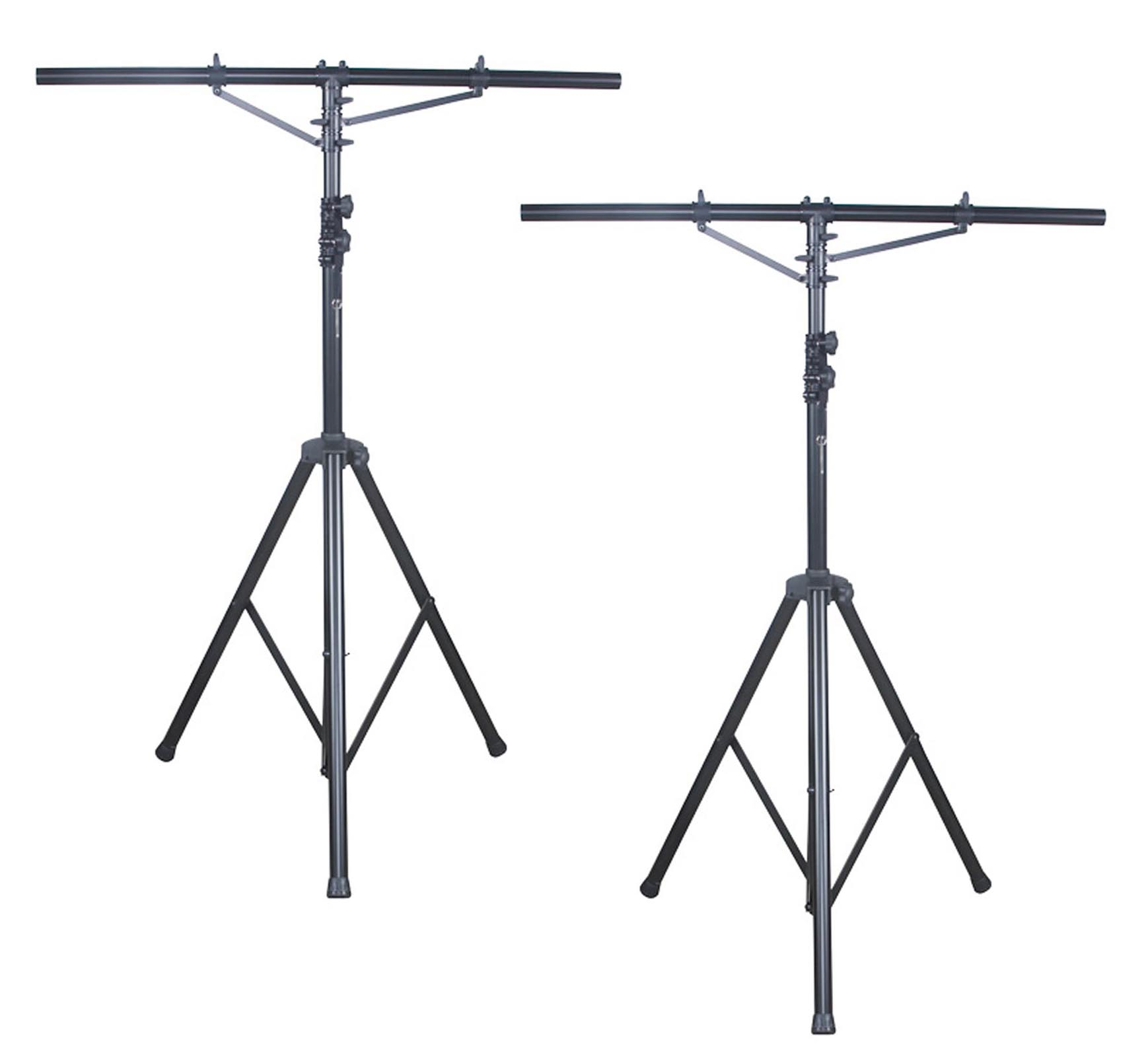(2) AMERICAN DJ LTS-2 Aluminum Black Heavy Duty 12 Ft Tripod T-Bar Light Stands by ADJ