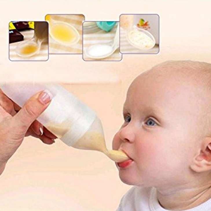 Baby Squeeze Feeding Bottle With Spoon Food Rice Cereal Feeder 240ML SK