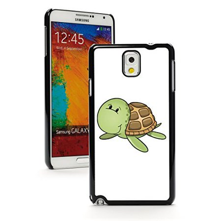Samsung Galaxy Note 4 Hard Back Case Cover Cute Turtle Tortoise (Black)