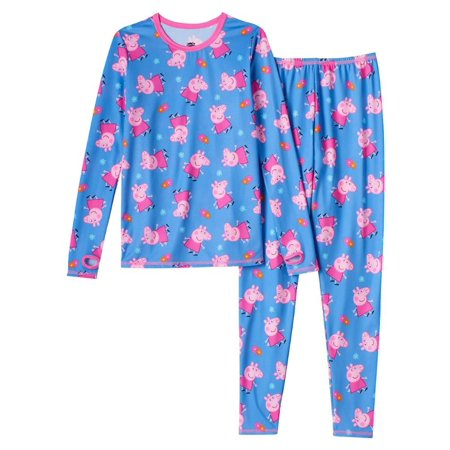 Dude Girl (Cuddl Duds Girls Blue Peppa Pig Chill Chasers Thermal Underwear Base Layer)