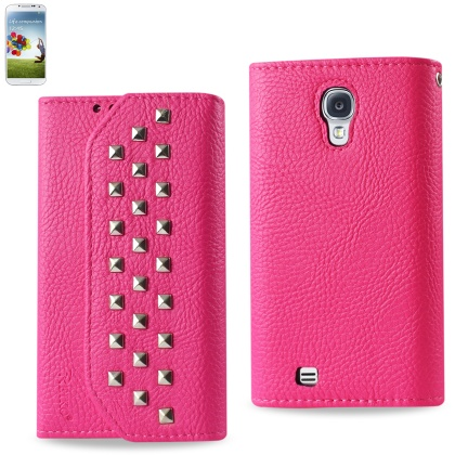 REIKO SAMSUNG GALAXY S4 STUDS WALLET CASE IN HOT PINK
