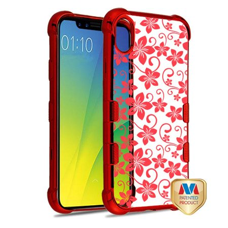 Apple iPhone XR (6.1 Inch) Phone Case Slim Thin Tuff TPU Hybrid Silicone Rubber Soft Protective Phone Case Cover Hibiscus Flower Red Transparent Phone Case for Apple iPhone Xr (6.1