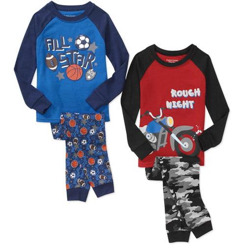 Faded Glory Baby Boys' Tight Fit Pajamas, 2 Sets