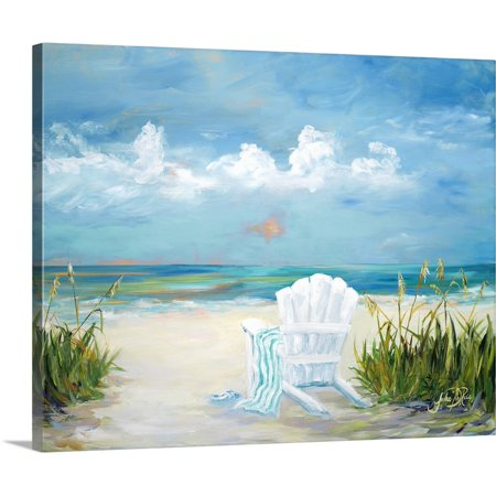 Great BIG Canvas   Julie DeRice Premium Thick-Wrap Canvas entitled Beach Scene - Emoji Beach Scene