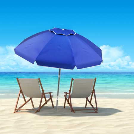 Beach Umbrella with 360 Degree Tilt- Portable Outdoor Sun Shade Canopy with UV Protection, Sand Anchor, Carrying Case by Pure Garden (7 Ft,