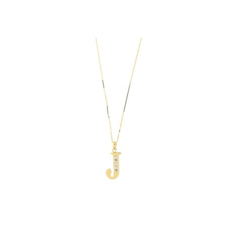 Gold Large Initial Pendant (14k Yellow Gold Large Cubic Zirconia Initial Pendant Necklace, J,)
