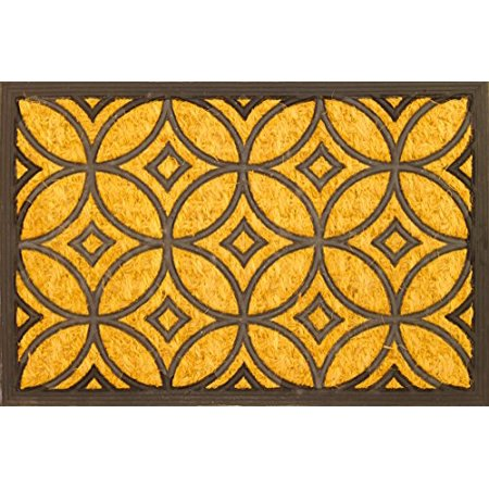Geometric Art Deco Coco Coir Rubber Door Mat Easy to Clean - 16