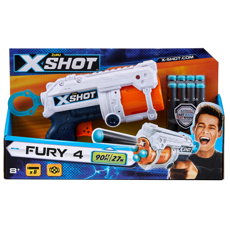 X-Shot Excel Fury 4 Foam Dart Blaster Gun (8 Darts) by ZURU
