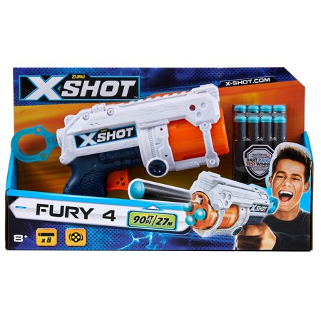 X-Shot Excel Fury 4 Foam Dart Blaster Gun (8 Darts) by ZURU