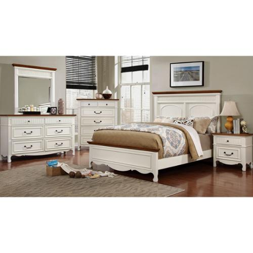 Furniture of America Ophelie Cottage Style 4-piece White Platform Bedroom Set Queen