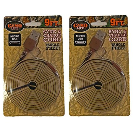 Set of 2 Camo Life 9 FT Micro USB Brown Camo Sync & Charge Cords
