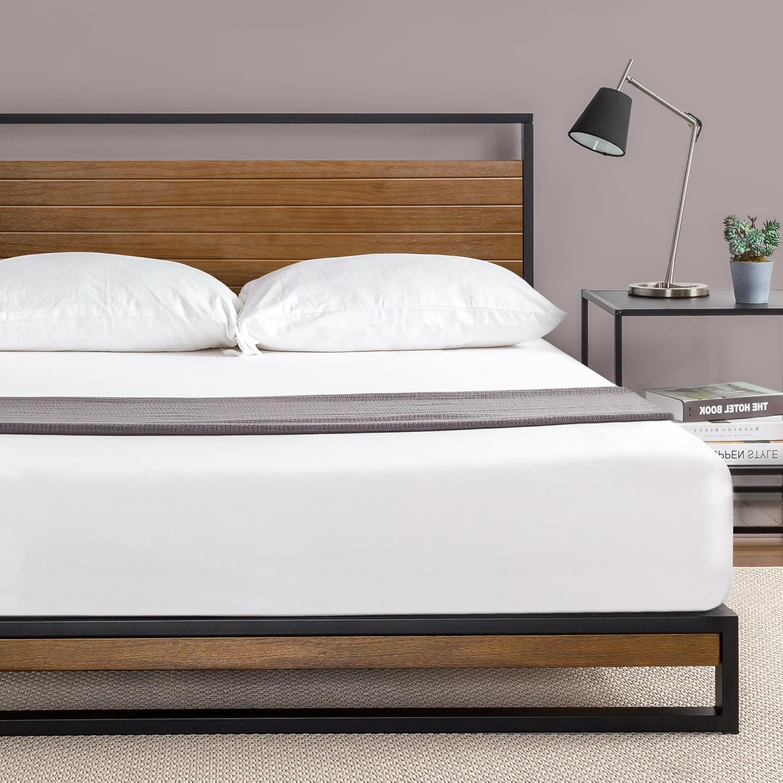 Picture of: Zinus Suzanne 37 Metal And Wood Platform Bed With Headboard Chestnut Brown Queen Walmart Com Walmart Com