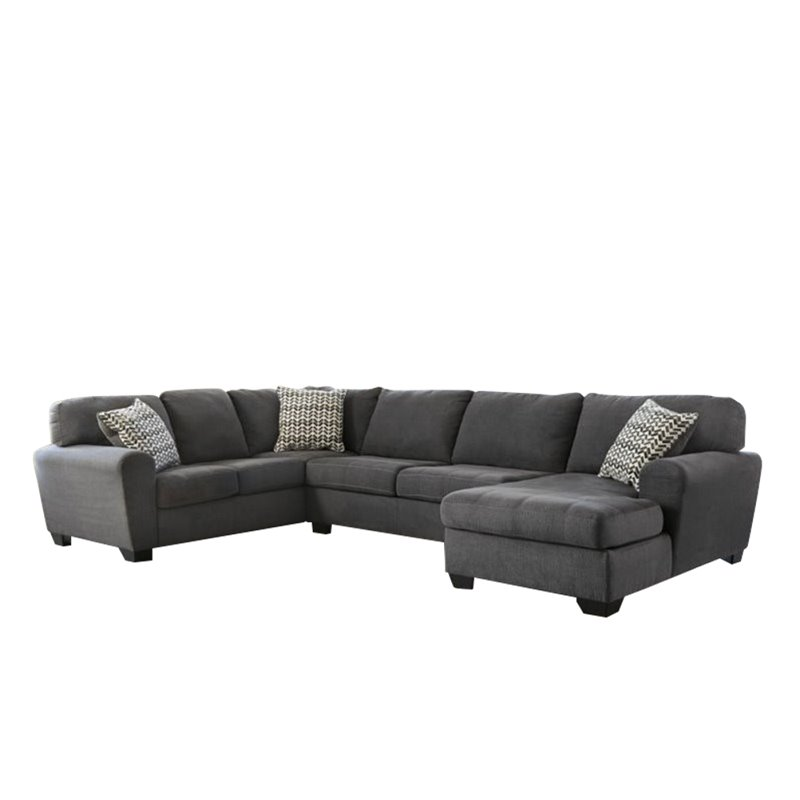 Ashley Sorenton 3 Piece Fabric Right Chaise Sectional in Slate by Ashley Furniture