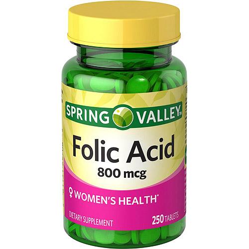 Spring Valley Folic Acid Tablets, 800 mcg, 250 count