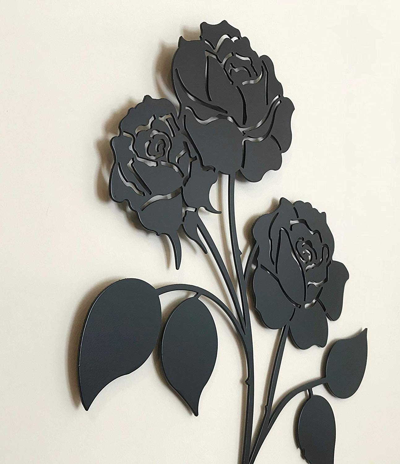 Image of: Rose Flower Wrought Iron Wall Art Home Decor Decoration Patio Metal Black Plaque