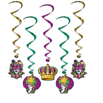 Pack of 30 Assorted Mardi Gras Metallic Hanging Party Decoration Whirls 40