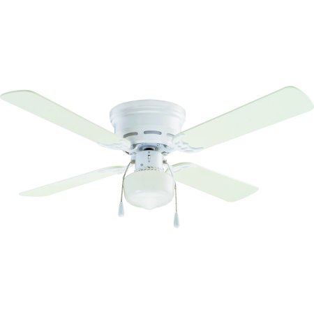 """42"""" Mainstays Hugger Indoor Ceiling Fan with Light, White"""