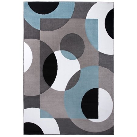 Contemporary Circles Blue Indoor Area Rug 5' 3