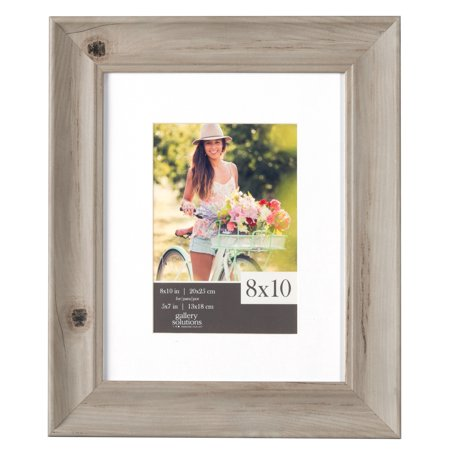 Gallery Solutions 8 x 10 Whitewash Wood Scoop Frame, Matted to 5 x 7 ...